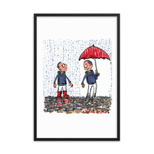 Load image into Gallery viewer, Boots vs umbrella illustration Framed Art print