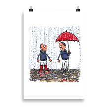 Load image into Gallery viewer, Boots vs umbrella illustration Art Print