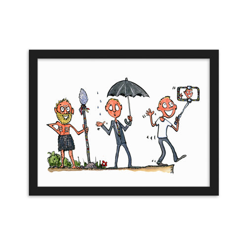 Evolution of modern man framed art print