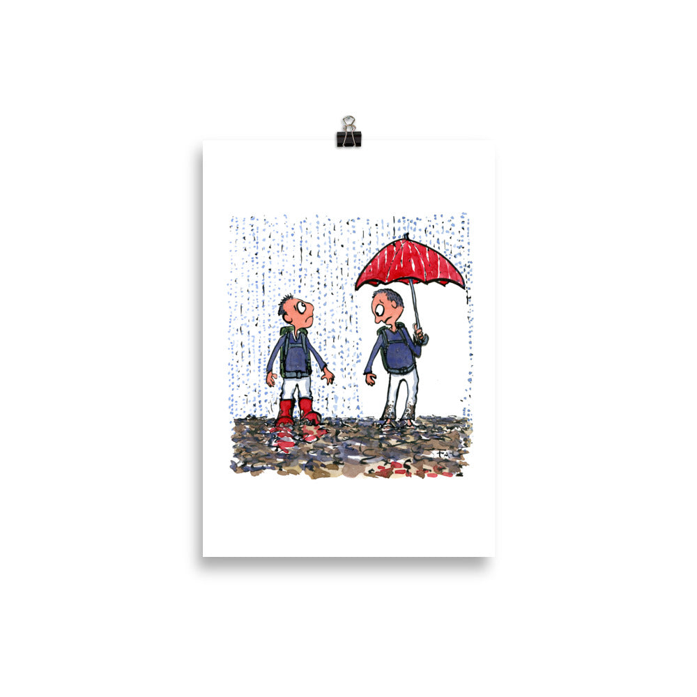 Boots vs umbrella illustration Art Print