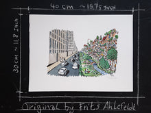 Load image into Gallery viewer, Car city vs walkable city original illustration by Frits Ahlefeldt