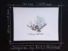 Load image into Gallery viewer, Cutting corner of a building original illustration by Frits Ahlefeldt