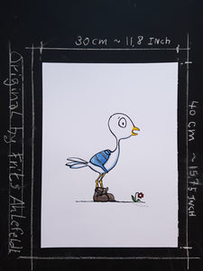illustation of a bird with backpack. drawing by Frits Ahlefeldt. Original