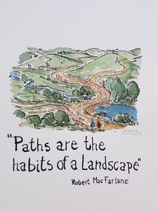 "Paths are the habits of a landscape"" quote Drawing by Frits Ahlefeldt"