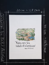 Load image into Gallery viewer, Paths as habits of a landscape. illustration by Frits Ahlefeldt
