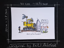 "Load image into Gallery viewer, Big road machine and group in front. worker asking ""is this scratch"" - the original starting from scratch illustration by Frits Ahlefeldt"