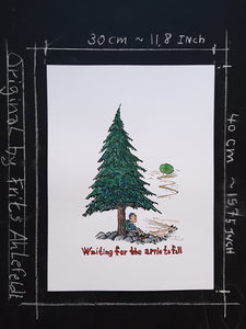 "Drawing of a man sitting under a pine tree and the text ""waiting for the apple to fall"". Original illustration by Frits Ahlefeldt"