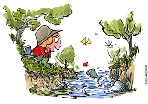illustration of young girl sitting by a stream with happy fish jumping. Drawing by Frits Ahlefeldt