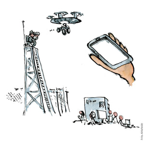 illustration of examples of surveillance from watch-posts to drones. Illustration by Frits Ahlefeldt