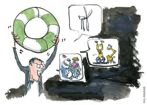 man lifting green lifebuoy over his head talking about wind-energy, technology and plastic waste. illustration by Frits Ahlefeldt