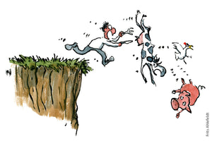 Hungry man with a knife and fork, running out over a cliff after a cow, hen and pig. Illustration by Frits Ahlefeldt