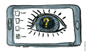 phone with eye on screen and with a question mark inside. illustration by Frits Ahlefeldt