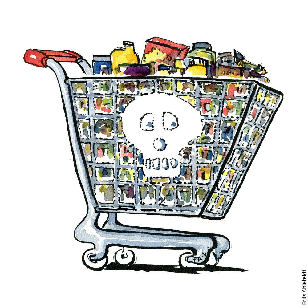 Drawing of a cranium shopping wagon. Illustration by Frits Ahlefeldt