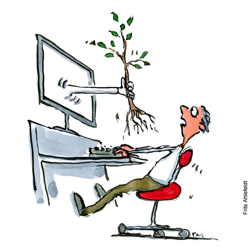 Drawing of a man looking surprised as a hand comes out of his computer screen with a tree. Technology illustration by Frits Ahlefeldt