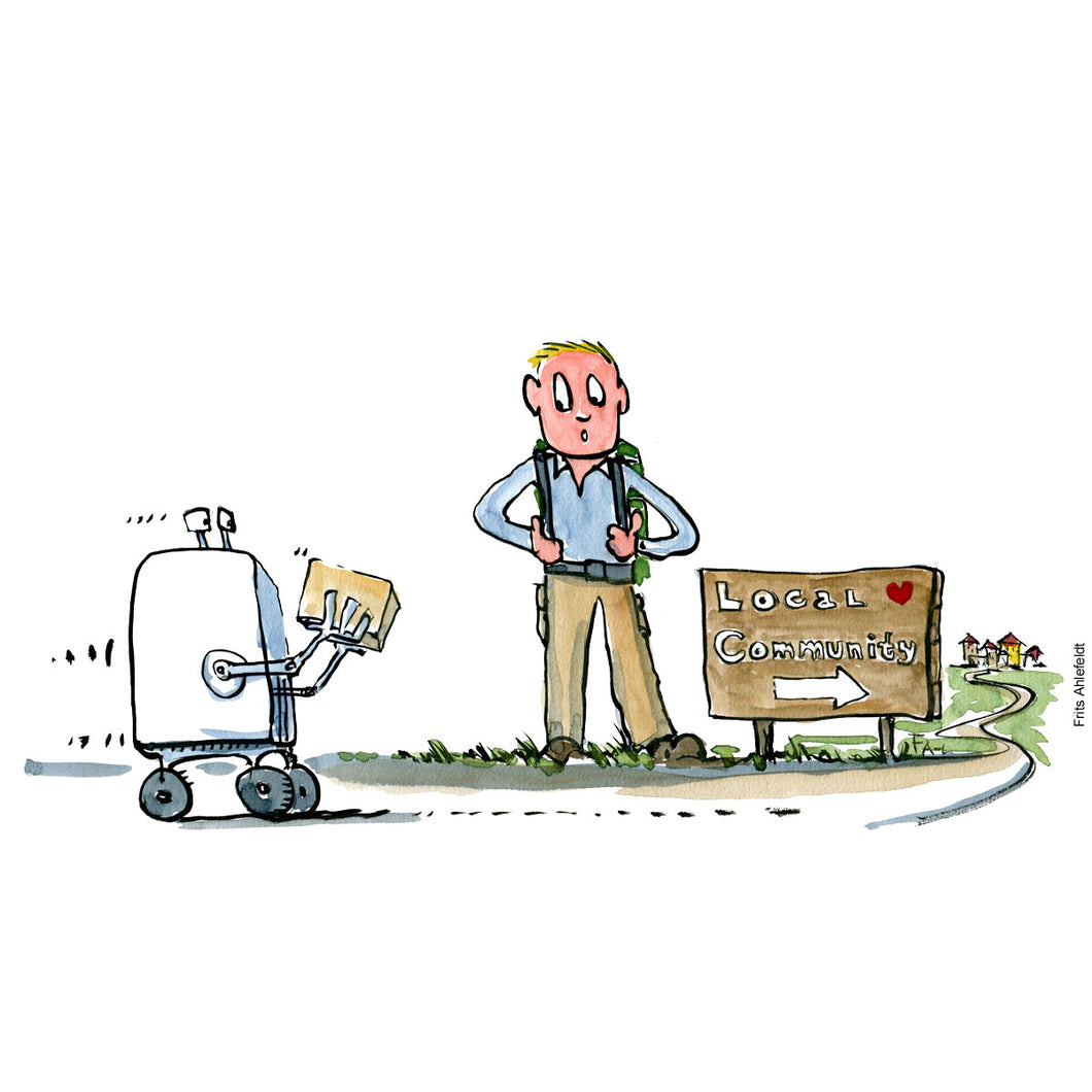 Drawing of a robot making a delivery, driving past hiker on its way to a local community. Technology illustration by Frits Ahlefeldt