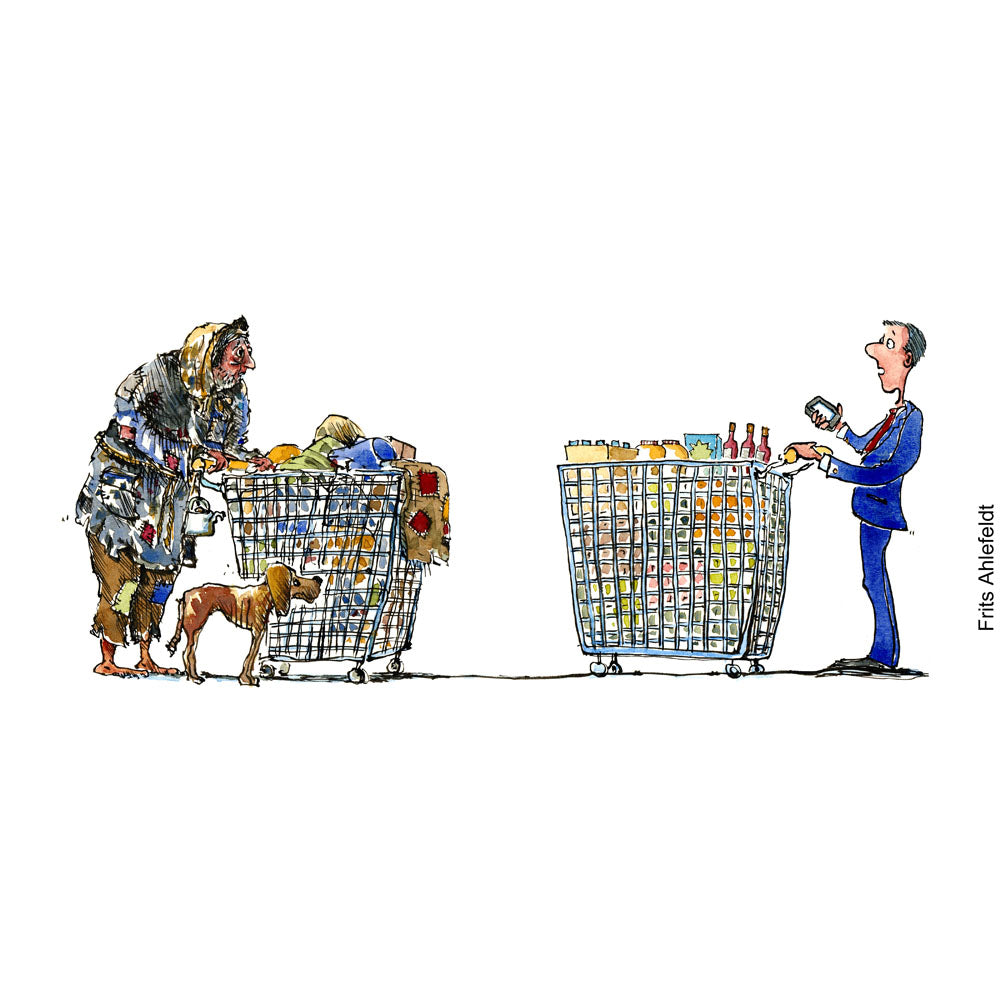 homeless man with shopping cart meets businessman with shopping cart. Illustration by Frits Ahlefeldt