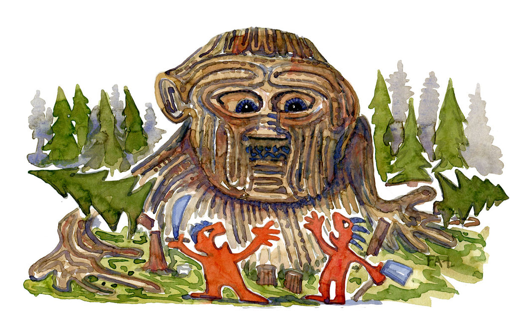 Drawing of the Gilgamesh story. illustration by Frits Ahlefeldt