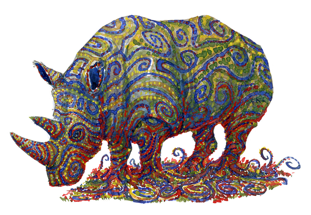 Original Tribal rhino-1 Watercolor