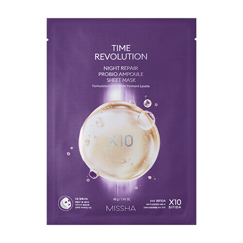 MISSHA Time revolution Night Repair Probio Ampoule Sheet Mask - 40g - Beautihara