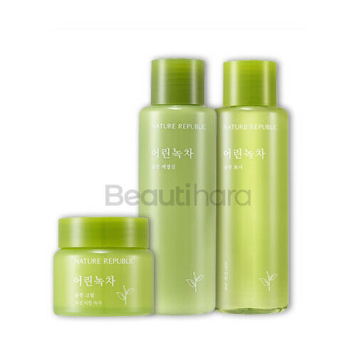 Nature Republic Young Green Tea Mild Emulsion / Toner / Cream - Beautihara