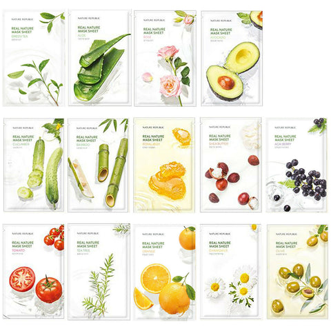 Nature Republic Real Nature Mask Combo (14 Sheets) - Beautihara