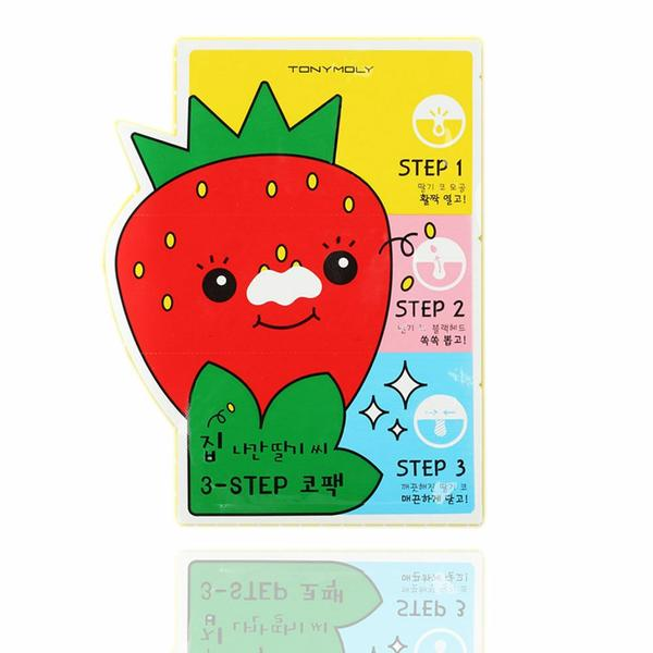 TONYMOLY Runaway Strawberry Seeds 3 Step Nose Pack - Beautihara
