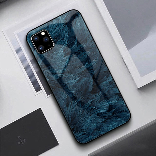 G-FAITH Feather Print Glass Case Starry Sky Design For iPhone 11 | 11Pro | Max | X | XS | Max | Xr