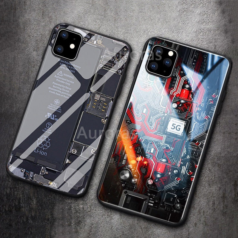 Auroras Explorer Painted Tempered Glass Silicon Case for iPhone 11 | 11 Pro | Max