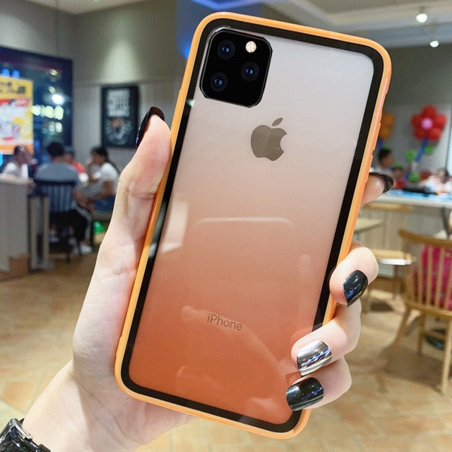 Ultra Thin Gradient Transparent  Case for iPhone 11 Case Acrylic Glass Cover for For IPhone XI XIR XS MAX 2019 Back Coque Cover