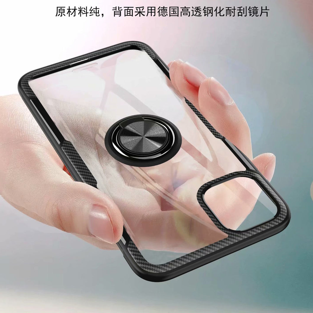 Transparent Premium Quality Hard Case With Ring Stand Magnet Cover for iPhone