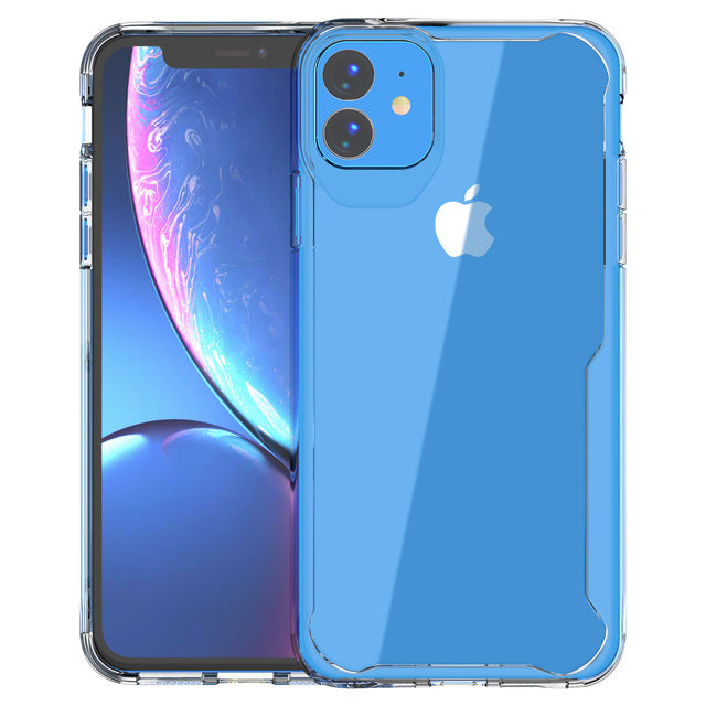 Soft Silicone + Transparent Armor Protective Back Cover Cases for iPhone 11 | 11 Pro | Max