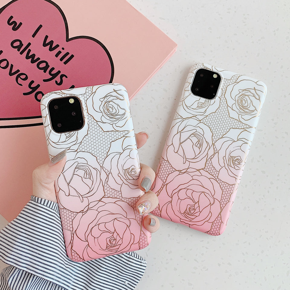 Luxury Flower Gold Plating Gradient Silicone Shockproof Case Cover for iPhone 11 | Pro | Max | X | XS Max | Xr