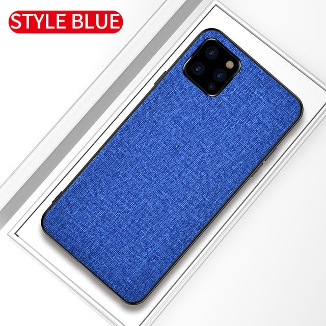 Fabric Cloth Silicone Hard Frame Shockproof Case for iPhone 11 | 11 Pro | 11 Pro Max
