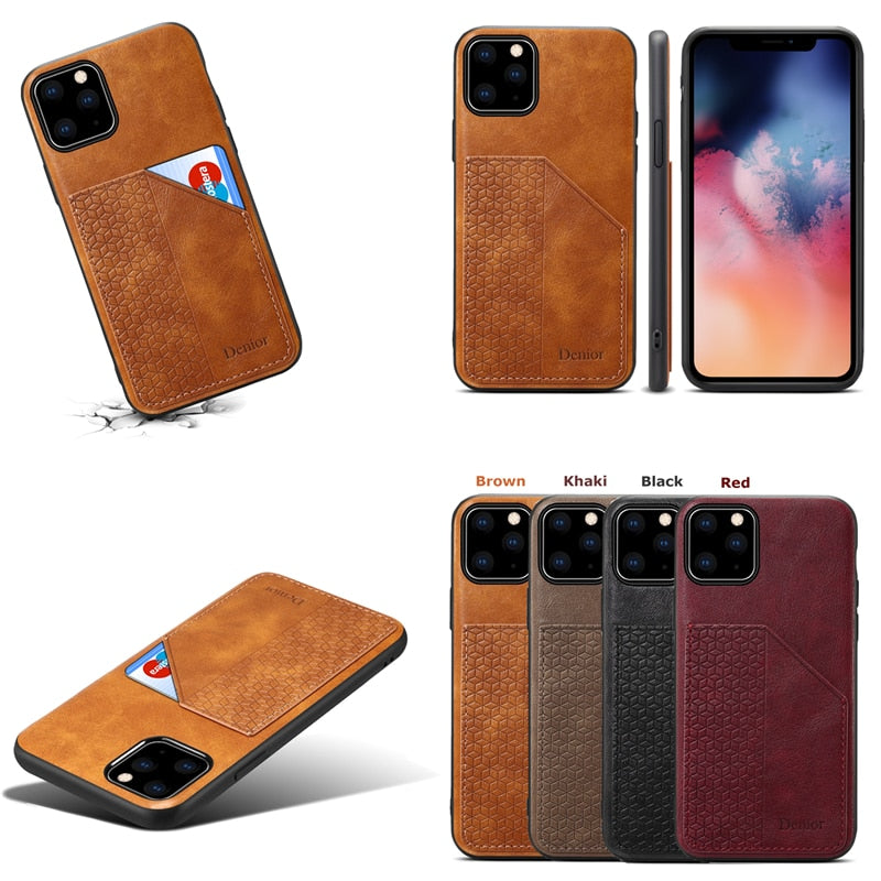 Luxury Leather Card Holder Case Cover for iPhone 11 | 11 Pro | Max