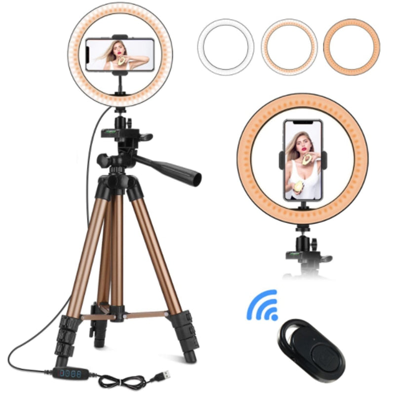10 inch LED Ring Light Dimmable with Phone Tripod for Smart Cell Mobile Phone Live Selfie Makeup Holders Stands