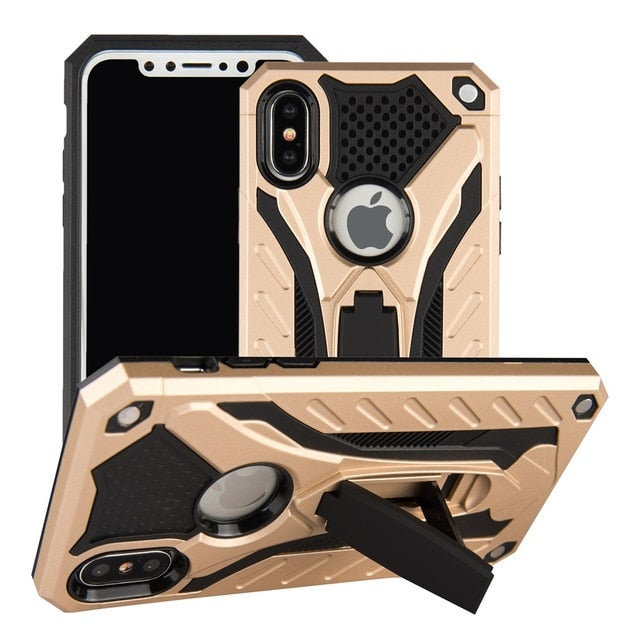 Case For iPhone 7 8 Shockproof Military Drop Tested Silicon Case For iPhone 6 6s Plus X 5 5s SE Kickstand TPU Cover Coque Shell