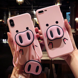 Cute Pink Silicon Stand Holder Pig Case Case For iPhone 7 | 8 | Plus | X | XS Max | Xr