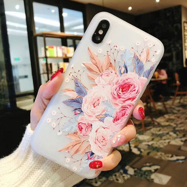 Flower Silicon Case with Rose Floral Design of Soft TPU