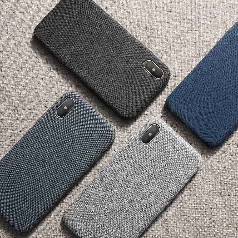 iPhone Simple Luxury Cloth Deep Color Light Slim Case for 7 | 8 | Plus | X | XS Max | Xr