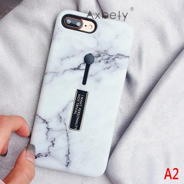 Luxury Message Marble Pattern Printed Case For iPhone 7 | 7 Plus | 8 | 8 Plus | X | XS | XS MAX | XR with Finger Holder