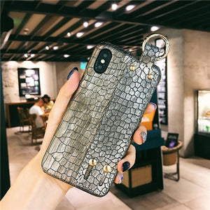 Wrist Strap Hard Leather Case For iPhone 7 | 8 | Plus | X | XS Max | Xr