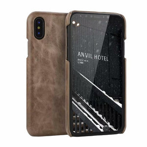 Brand Genuine Full Grained Leather Back Cover with Read Natural Cow Skin Cover for Apple iPhone