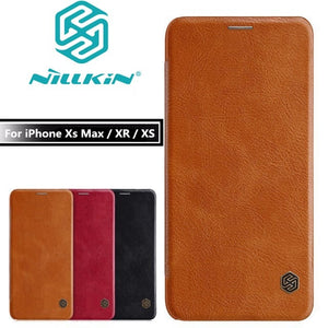 Nillkin Leather Flip Case with Card & Pocket Wallet Cover for iPhone X | XS | Max | Xr
