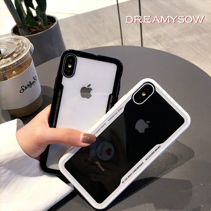Shockproof Protective Tempered Glass Case iPhone 7 | 7 Plus | 8 | 8 Plus | X | XS | XS MAX | XR