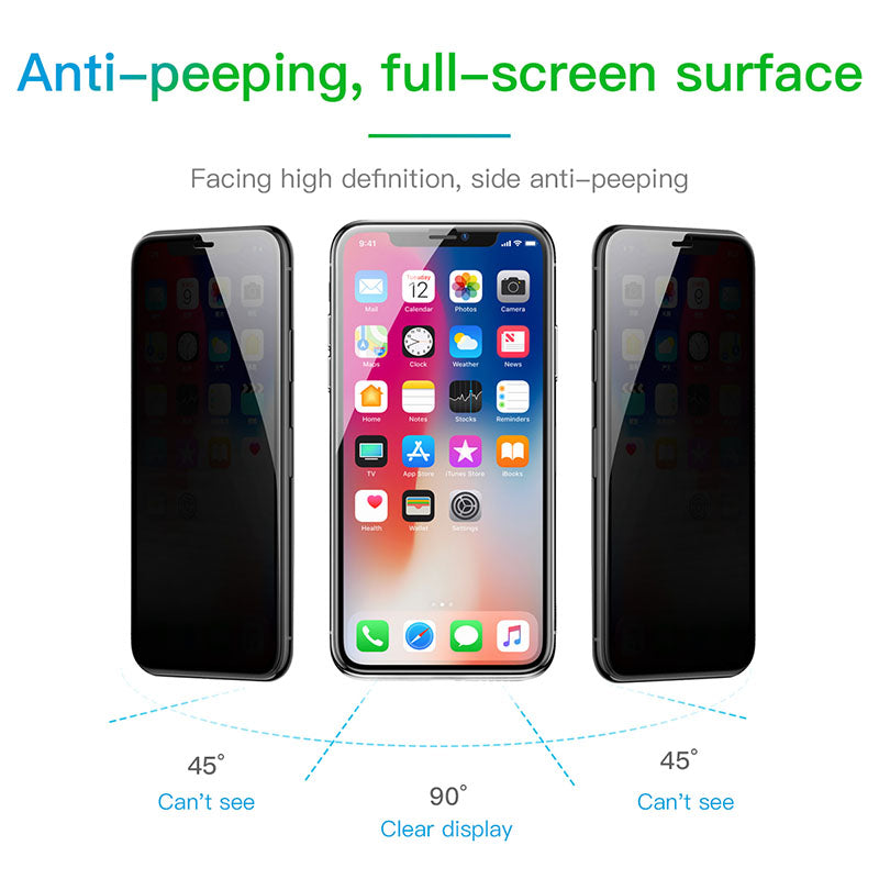 Strongest Anti Spy Privacy 3D Screen Protector For iPhone 7/8 Plus | X | XS Max | XR