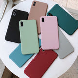 Solid Candy Color Soft Silicone Cases For iPhone 7 | 8 | Plus | X | XS Max | Xr