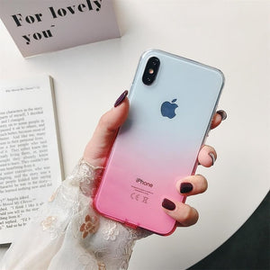 Gradient Clear Silicon Colorful Soft Dirt Plug Case For iPhone 7 | 8 | Plus | X | XS Max | Xr