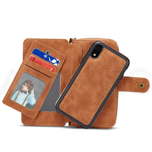 Magnetic Detachable Zipper Wallet Leather Case For iPhone XS Max | X | Xr | 7 | 8 Plus