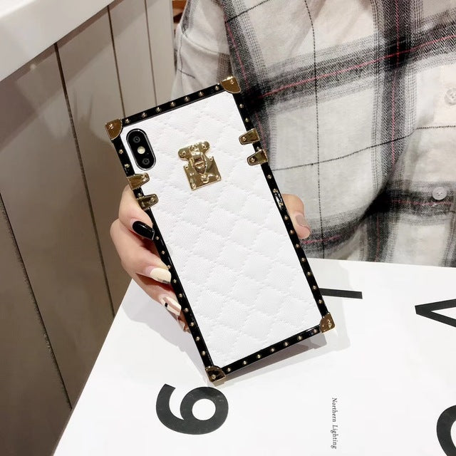 Lambskin Soft Leather Square Plaid Cases For iPhone 7 | 8 | Plus | X | XS Max | Xr | Samsung Galaxy S10 | Plus | E