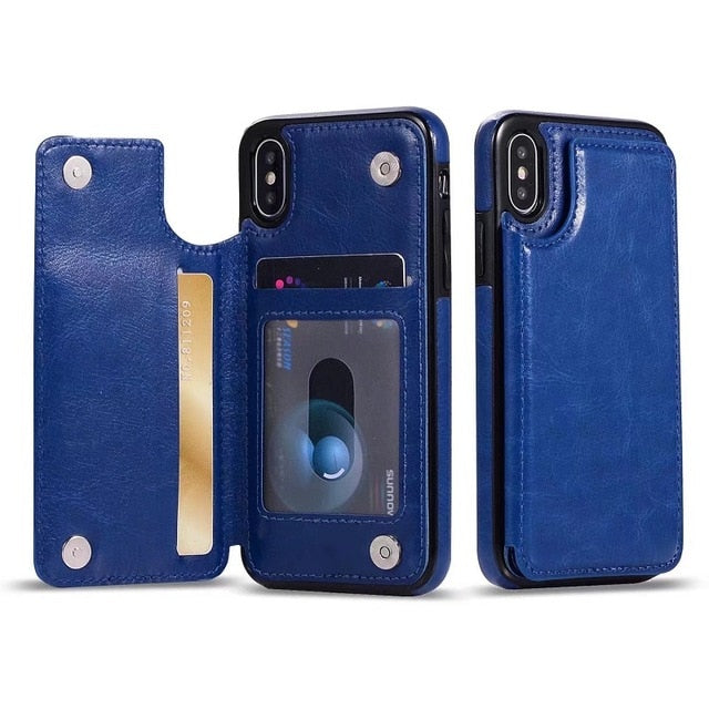 Luxury PU Leather Card Slot & Stand Flip Wallet Shell Case For iPhone XS | XS Max | 7 | 8 Plus